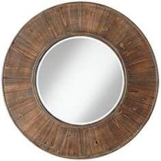 "Easton Wood Panel 31 1/2"" Distressed Wall Mirror $200"