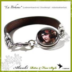 Modulperlenarmbänder - Lederarmband incl. 1 Druckknopf nach Wahl - ein Designerstück von Abouki_Funstyle bei DaWanda