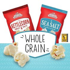 Our Original Kettlecorn & Sea Salt Popcorn are certified whole grain snacks. Just eat 2 servings, & you'll have 44 of 48 recommended grams of whole grains in your daily diet!