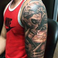 Fresh Tattooing by Anita Bhatia abmartinez tattooi Hand Tattoos, Skull Sleeve Tattoos, 13 Tattoos, Best Sleeve Tattoos, Tattoo Sleeve Designs, Tribal Tattoos, Cool Tattoos, La Muerte Tattoo, Catrina Tattoo