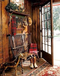 ~ Living a Beautiful Life ~ Wouldn't you love to step into this foyer? Hang your hat and tartan scarf on the shelf; sit on the Windsor bench, and take off your boots.