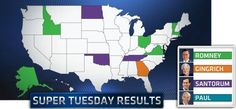 Mitt Romney picked up a total of six states on Super Tuesday, with Rick Santorum gaining three and Newt Gingrich one. The results, particularly a close race in Ohio, left the contest far from decided.