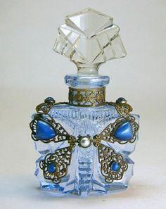 Mini Czech Jeweled Perfume Bottle.