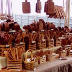 Wooden spoons, spatulas, tongs, rolling pins and cutting boards - so many choices of handmade wonders!