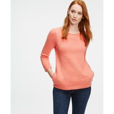 Ann Taylor Boatneck Sweater ($85) ❤ liked on Polyvore featuring tops, sweaters, fuzzy apricot heather, red top, boatneck top, red sweater, 3/4 sleeve boatneck top and bateau neck top