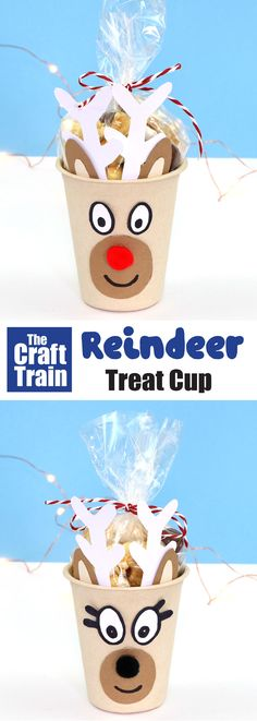 Make some reindeer treat cups – a cute and easy DIY gift idea that kids can make for friends. This is a fun Christmas craft for kids and people who love handmade gifts #reindeercraft #kidscraft #papercupcrafts #handmadegifts #christmasgifts #christmastreats