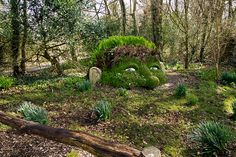 The Giant's Head, an earthen woodland sculpture at Lost Gardens of Heligan in Cornwall, England