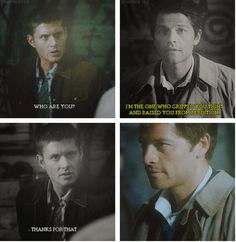[SET OF GIFS] 4x01 Lazarus Rising. Thank God cas gripped him tight and raised him from perdition