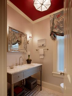Elegant Powder Room With Red Ceiling | HGTV