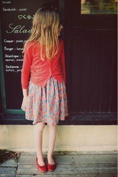 Smallable. Simple and beautiful styling for young girls. Cardigan, skirt and flats. Love this!