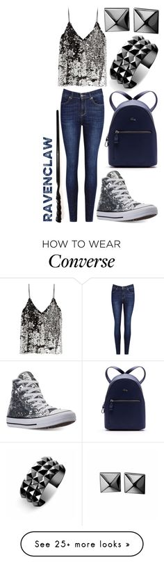 """Modern Witches: Ravenclaw #2"" by rainbowfashionunicorn on Polyvore featuring Waterford, Converse, Lacoste, Samsøe & Samsøe and modern"