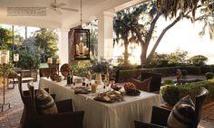 Like idea of torcheres w/ citronella for outdoor ambience; Elizabeth Tyler Kennedy