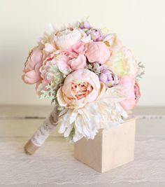 Ramo de novia de seda rosa peonías cineraria por braggingbags