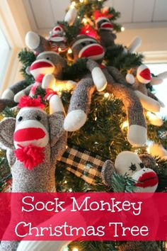 How fun is this?  Make a Sock Monkey themed Christmas Tree for the kids! from Southern State of Mind.