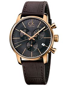 ck Calvin Klein Men's Swiss Chronograph City Brown Leather Strap Watch 43mm K2G276G3