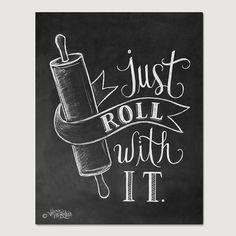 Bakery Print Kitchen Print Kitchen Art Just Roll by LilyandVal, $19.00