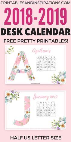 Desk calendar 2018, desk calendar 2019, free printable calendar 2018 2019, free 2018 calendar, free 2019 calendar, half size calendar, floral calendar, pretty calendar