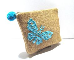 Acessories burlap pouch cross stiched embroidered with a turqoise butterfly by My Apopsis World , $25.00 USD