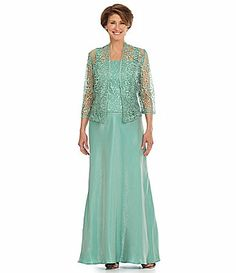 KM Collections Foil Lace Jacket Gown #Dillards