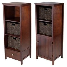 Winsome Trading Brooke Jelly Cupboard with 2 Baskets in Antique Walnut - BedBathandBeyond.com