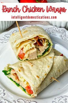 How to make Chicken wraps with bacon and Ranch. Recipe includes both Instant Pot® and stovetop methods for cooking the boneless chicken. Easy Wrap recipe. Serve with soup or have chicken wraps for lunch. Quick and easy meal. #chickenrecipe #chickenwraps Easy Sandwich Recipes, How To Make Sandwich, Wrap Recipes, Easy Recipes, Easy Meals, Healthy Recipes, Chicken Bacon Ranch Wrap, Bacon Wrapped Chicken, Chicken Wraps