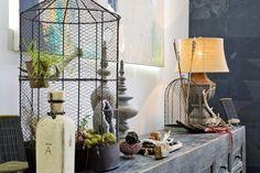 plants in a bird's cage - Erin's Layered Bohemian Oakland Loft #birdcage