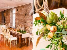 Wooden Farm Tables with Magnolia Leaf Runners and Centerpieces featuring Artichokes + Turkey Feathers | Classic Southern Wedding at the Rice Mill | Dana Cubbage Weddings, Charleston SC Wedding Photography