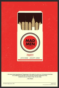 mad men minimal poster great use of space simple color works and the use of cigarettes. Clever!