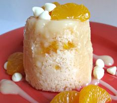 3-2-1 Mandarin Orange Cake- individual orange cakes studded with mandarin orange bits and topped with creamy white chocolate syrup amazingly cooks in less than a minute in the microwave!|The Monday Box #microwavemugcake