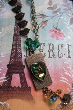 Green Gold Heart Pendant Necklace Bird by MaggieMarieCreations, $32.00