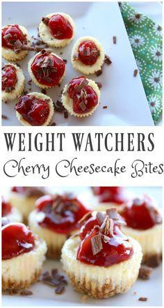 4 FS These Weight Watchers Cherry Cheesecake Bites are simple and perfect for any time of the year. There is only 5 Weight Watchers Smart Points in each serving! Weight Watchers Cheesecake, Dessert Weight Watchers, Plats Weight Watchers, Weight Watchers Diet, Weight Watchers Smart Points, Cherry Recipes Weight Watchers, Weight Watchers Shakes, Weight Watchers Cupcakes, Weight Watchers Recipes With Smartpoints