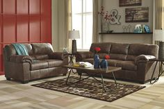 Bladen Contemporary Coffee Color Faux Leather Sofa And Loveseat. If you love the cool look of leather but long for the warm feel of fabric, you'll find the Bladen loveseat fits the bill beautifully. Rest assured, the textural, multi-tonal upholstery is rich with character and interest. #Sofa #Loveseat #Brown #Smoothy #Comfy #Ashley– Furnituremaxx