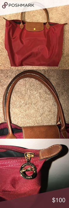 "Longchamp Tote ""Garnet"" color Longchamp Tote. 100% authentic- used a few times! It's in nearly perfect condition. Color is sort of like a deep red! Perfect for fall... NO damage to the corners, 2 spots on the bottom of the bag (pictured)- they are barely noticeable when the bag is worn. I'm open to trades for the same tote but in black 🙂 negotiable. Please make an offer! Longchamp Bags Totes"