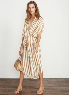 SANDWASH STRIPE PRINT - NATURAL - JENA SHIRT DRESS