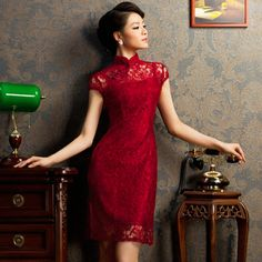 Burgundy red floral lace modern qipao short Chinese cheongsam dress 001