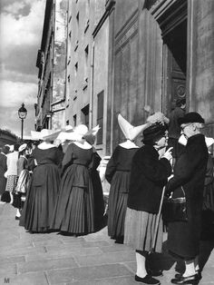 Paris 1950 - Daughters of Charity outside Saint-Sulpice Church  by Janine Niepce