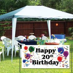 VictoryStore Waterproof Banner: Happy Birthday 2 feet X 4 feet Vinyl Banner (Balloons) Happy Birthday Yard Signs, Happy 20th Birthday, 90th Birthday, Happy 50th, Outdoor Birthday, Vinyl Banners, Reuse, Marker, Paint