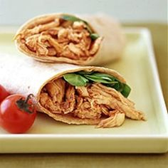 Pulled Chicken Barbecue Wrap from Weight Watchers.wow this looks good too bad i cant eat it right now. Wrap Recipes, Diet Recipes, Chicken Recipes, Healthy Recipes, Healthy Dinners, Sauce Recipes, Lunch Recipes, Yummy Recipes, Yummy Food