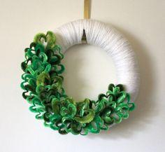 St Patricks Day Wreath, Green Hearts Wreath, White and Green Yarn Wreath, 14 inch Size. $50.00, via Etsy.