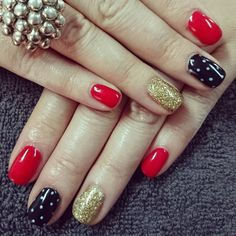 Black Gold Nails Red and black Nails with gold glitter and white dots