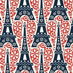 Eiffel Tower on Paisley Tricolor Fabric- Spoonflower.com