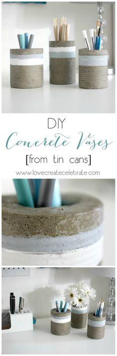 DIY Concrete Vases [