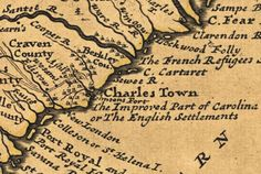 A portion of Herman Molls map of Carolina, 1732.
