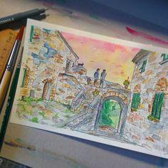 L'estate a Volterra è in arrivo. La poesia arriva portata dal venticello serale lungo le mura di cinta, ricoperta da un sipario rosso che scende tra i calanchi silenti.  Porta Menseri #volterra #tuscany #instagood #picoftheday #watercolor