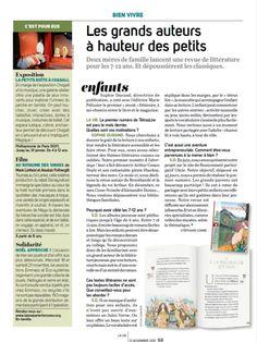 """Article dans """"la Vie"""" du 15 2015 : les grands auteurs à hauteur des petits. Le TétrasLire, le magazine des 8-12 ans qui donne des ailes à la lecture, est en vente sur abonnement ou à l'unité sur www.albaverba.fr"""