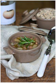 Zupppa di patate, funghi e fagioli