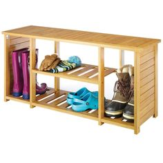 Shoe Storage Bench Entryway Shoes Organizer Mudroom Closet Shelf Bamboo
