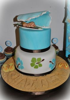 Surfer Baby Shower Cake love the baby on surfboard not bottom of cake though Maybe have the bottom layer be white with palm fronds or like the other white cake I saved with the different blue icings Hawaiian Baby Showers, Luau Baby Showers, Baby Shower Parties, Boy Baby Shower Themes, Baby Shower Cakes, Baby Boy Shower, Surfer Baby Shower, Chocolate Cake Mix Recipes, Beach Cakes