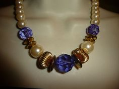 #614 vtg costume necklace Lrg Faux pearls w deep voilet & gold tone beads
