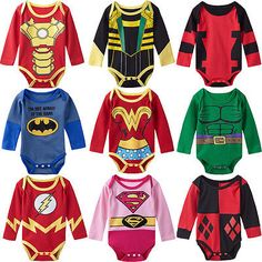 Wouldn't want my baby dressed up like some of these characters but cute :o) Baby Boys Girls Superhero Bodysuit Onesie Infant Funny Babygrow Girl Superhero Costumes, Superhero Cosplay, Super Hero Costumes, Deadpool Costume, Newborn Outfits, Baby Boy Outfits, Kids Outfits, Harley Quinn, One Piece Clothing